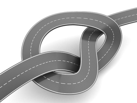 slowdown: 3d illustration of road knot, traffic jam concept