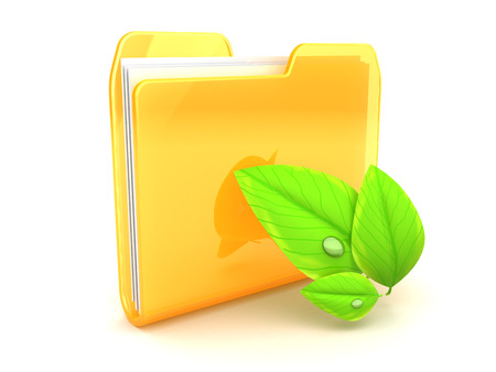 3d illustration of folder icon with leaf, over white