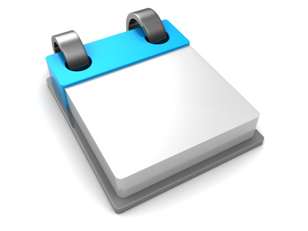 calendar page: 3d illustration of calendar over white background, blank page