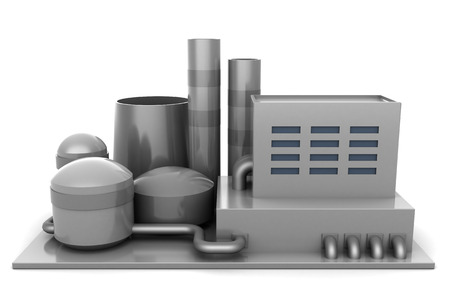 3d illustration of factory over white background Stock Photo