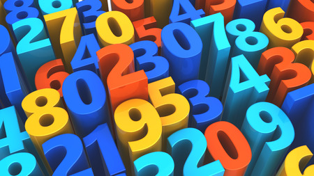 numbers background: 3d illustration of numbers chaos background