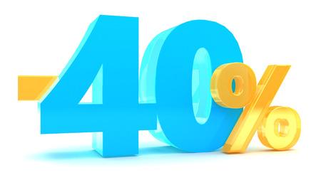 3d illustration of 40 percent discount Stock Photo