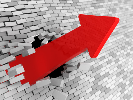 breakthrough: abstract 3d illustration of red arrow breaking wall Stock Photo