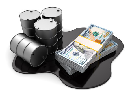 oil barrel: 3d illustration of oil barrels and dollars stack