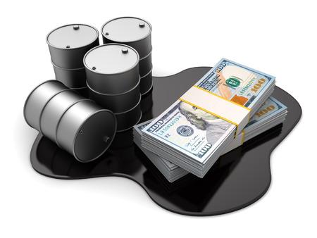 barrels: 3d illustration of oil barrels and dollars stack