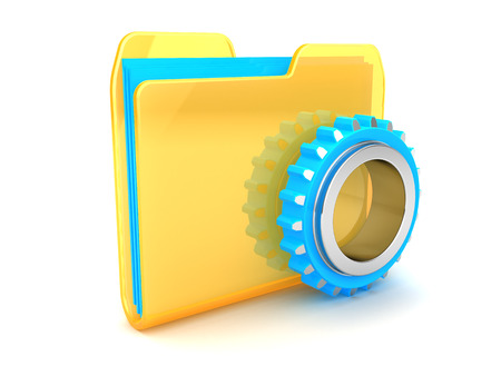 directory: 3d illustration of folder icon with gear wheel