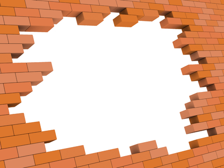 abstract 3d illustration of brick wall hole frame template
