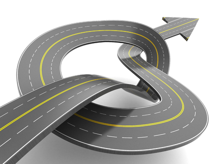 slowdown: 3d illustration of road with knot and arrow, success after problems concept Stock Photo