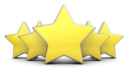 rating: 3d illustration of five stars rating symbol