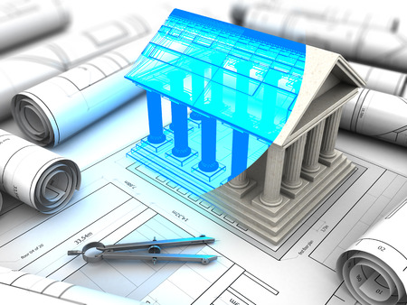 goverment: 3d illustration of building with columns model and plan