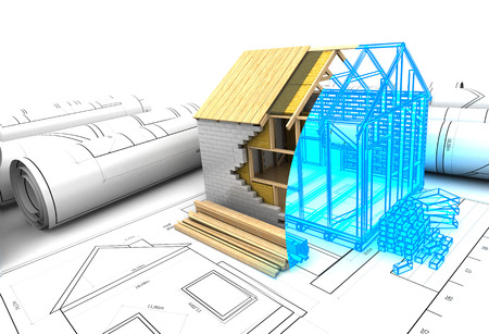 abstract 3d illustration of house design project