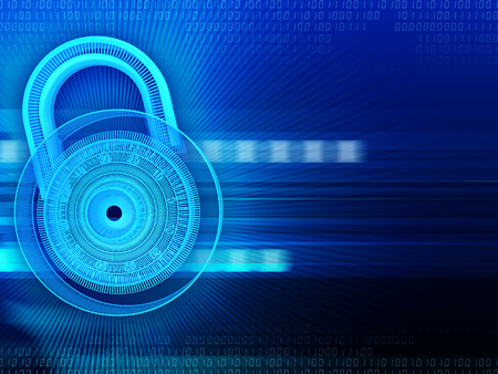lock symbol: abstract 3d illustration of blue cyberspace background and lock symbol