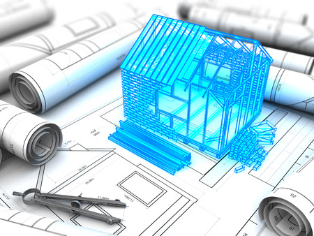 economic development: 3d illustration of house construction design