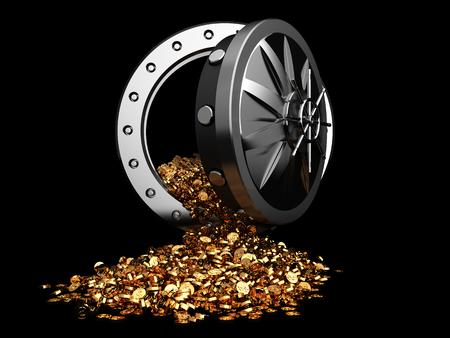 3D-Darstellung der Tresortür und goldene Münzen Standard-Bild