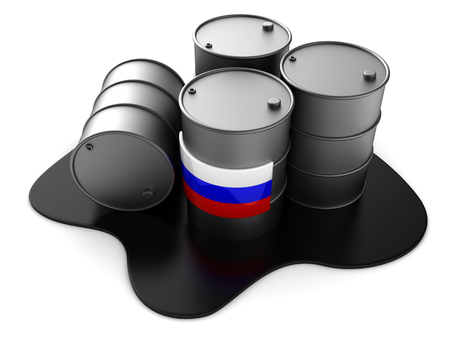 metal industry: 3d illustration of Russian oil barrels Stock Photo