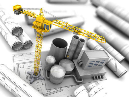 drawing a plan: 3d illustration of factory construction with crane