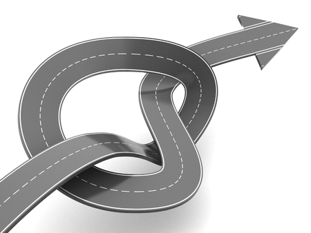 slowdown: 3d illustration of road knot and arrow, success after troubles concept