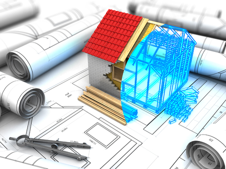 construction projects: 3d illustration of house construction design