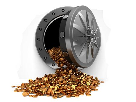 Illustrazione 3d di archiviazione piena di monete con porta a volta, su sfondo bianco