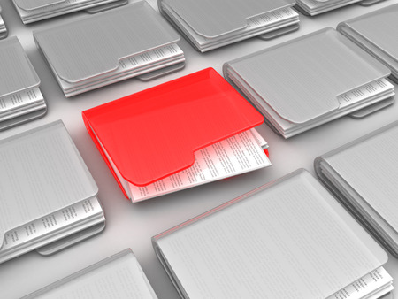 urgent: abstract 3d illustration of many folders and one urgent