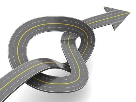 slowdown: 3d illustration of road with arrow, forward moving concept
