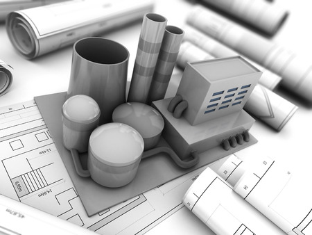 3d illustration of factory building model over blueprints paper