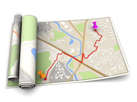 routes: 3d illustration of map with route Stock Photo