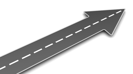 flecha direccion: 3d illustration of asphalt road with arrow, upward direction