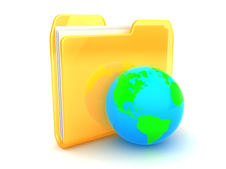 directory: 3d illustration of folder icon and earth globe Stock Photo