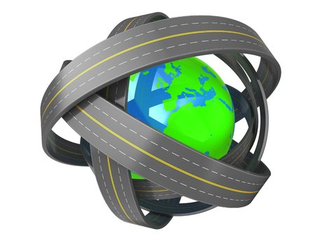 complicated journey: 3d illustration of earth globe and roads knot around it Stock Photo