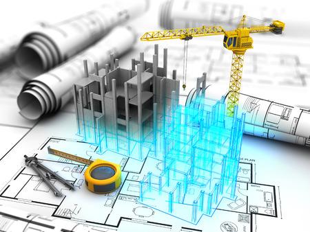 Abstracte 3d illustratie van bouwontwerp project