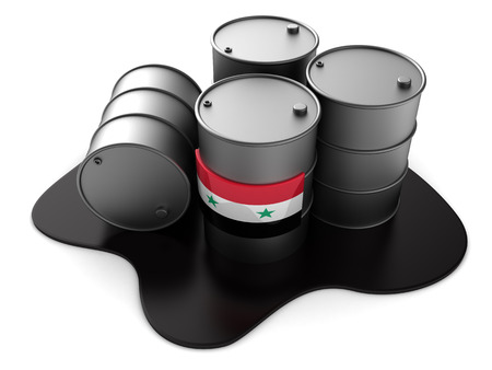 3d illustration of syria oil barrels