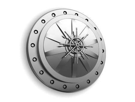 white door: 3d illustration of closed vault door over white background