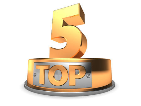 3d illustration of top 5 symbol over white background Stock Photo