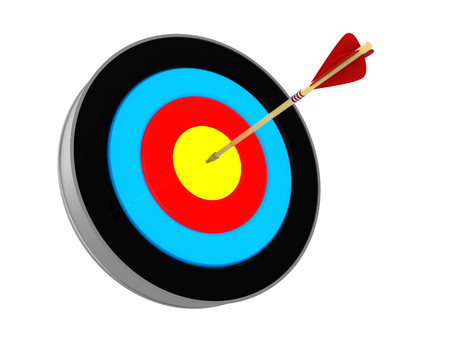 3d illustration of target with arrow