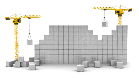 3d illustration of two cranes building wall with space for text Stock Photo