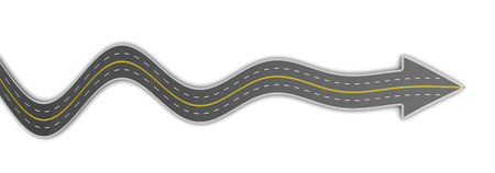 to bend: 3d ilustration of road with arrow, over white background Stock Photo