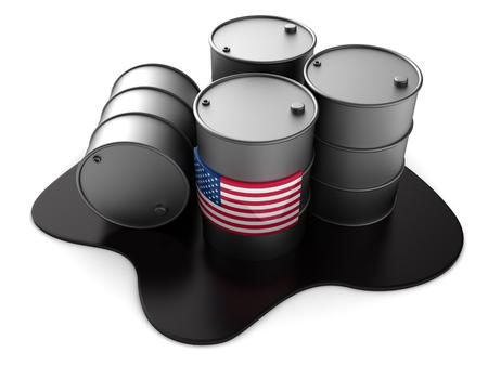 liquid state: 3d illustration of USA oil barrels