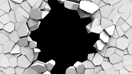 hole in the wall: 3d illustration of crashed wall hole over black background