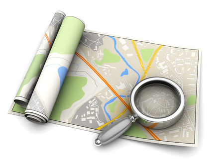 magnify glass: 3d illustration of map and magnify glass
