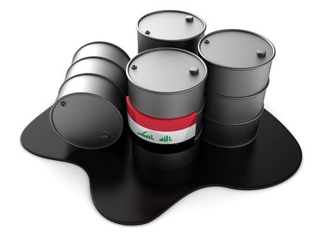 3d illustration of Iraq oil barrels