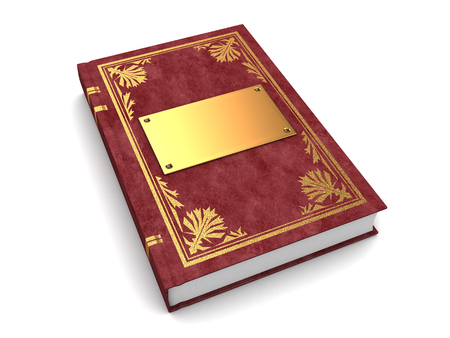 ebook cover: 3d illustration of book with golden and leather cover, over white background Stock Photo
