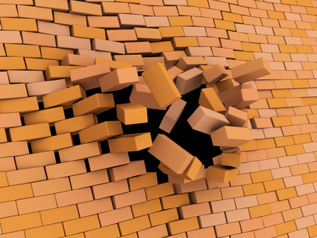rebuild: abstract 3d illustration of brick wall crash