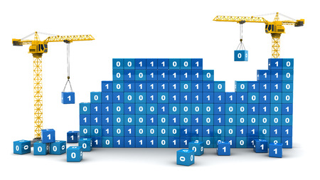 3d illustration of two cranes building binary code