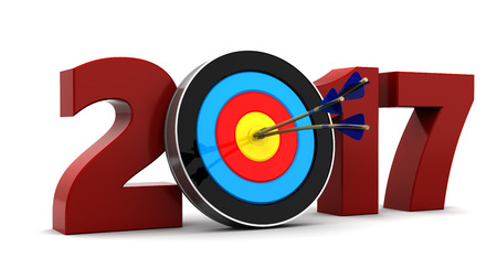end of year: abstract 3d illustration of 2017 year sign and arrows with target Stock Photo