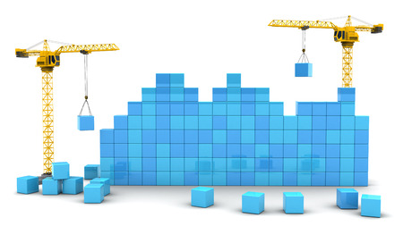 building wall: 3d illustration of two cranes building cubes wall