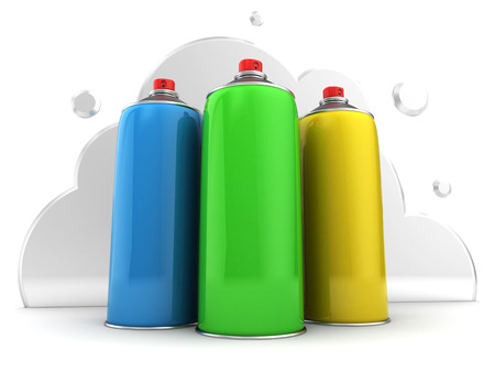 insect flies: 3d illustration of spray bottles over cloud background