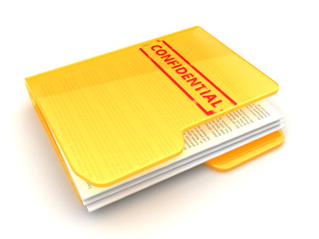 folder with documents: 3d illustration of confidential documents folder, over white background