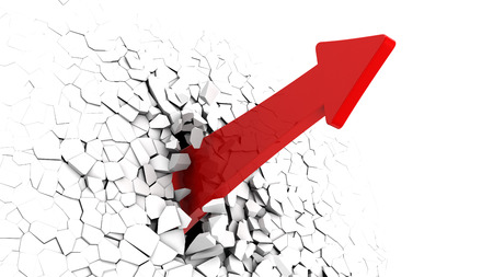 3d illustration of red arrow breaking white wall Stock Photo