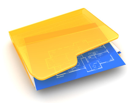 construction projects: 3d illustration of folder with blueprints icon, over white background